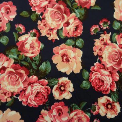 Rose Print on Scuba Knit