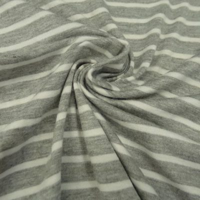 Striped Jersey Knit - Heathered Grey+White