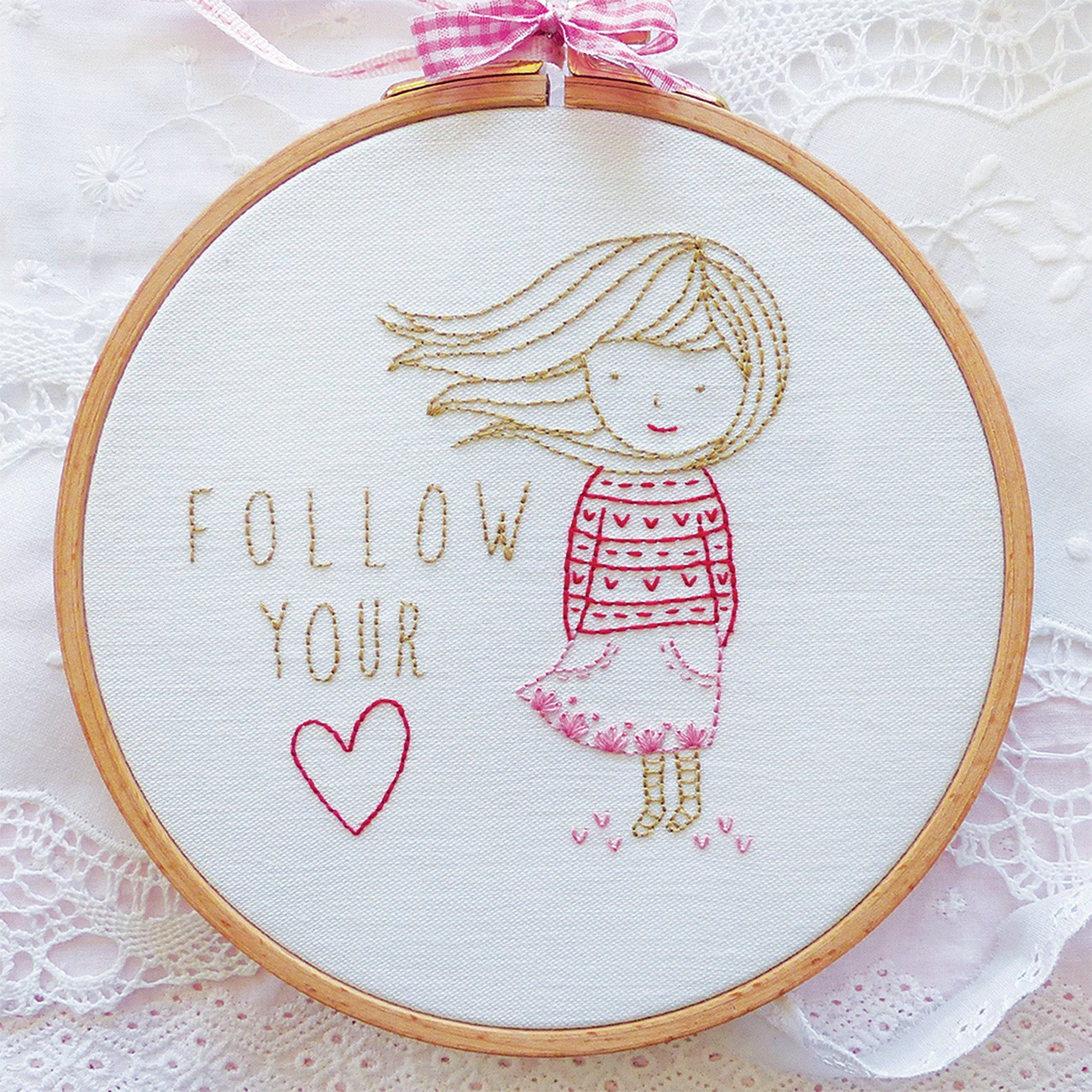 Follow your heart embroidery kit crinklelove